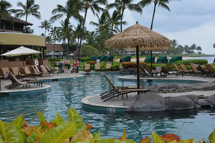 Sheraton Kauai landscaping and swimming pool plantings
