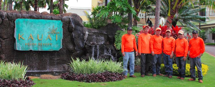 NKO Landscaping crew working on Kauai Beach Resort