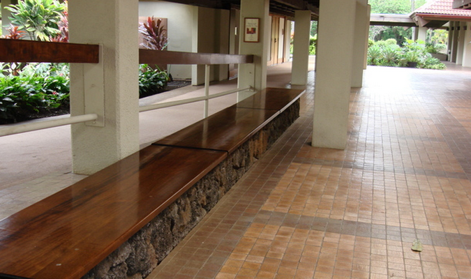 a seating area is a commercial landscape enhancement for entrances